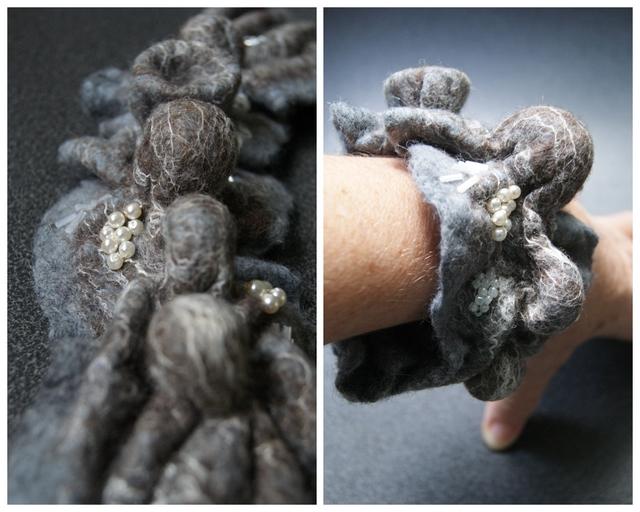 DIY Gefilztes Armband mit Perlen bestickt