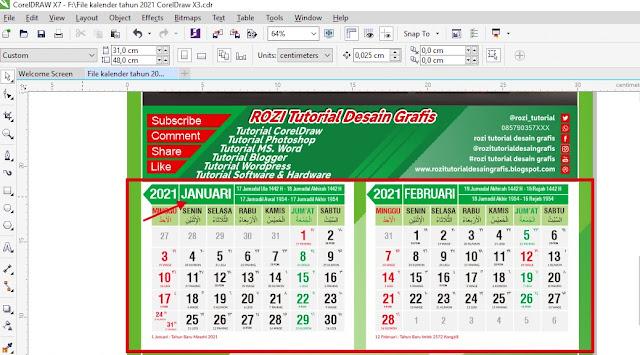 Download Template Kalender 2021 CDR Gratis