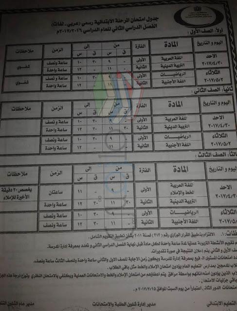 جدول امتحانات الصف الأول الابتدائي الترم الثاني 2017 محافظة بني سويف