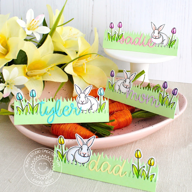 Sunny Studio Stamps: Spring Greetings Sunny Sentiments Loopy Letters Easter Place Cards by Leanne West