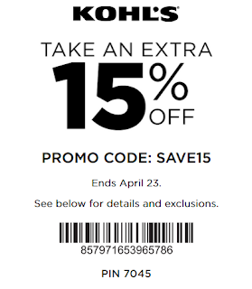 Kohl's coupon 15% off any purchase