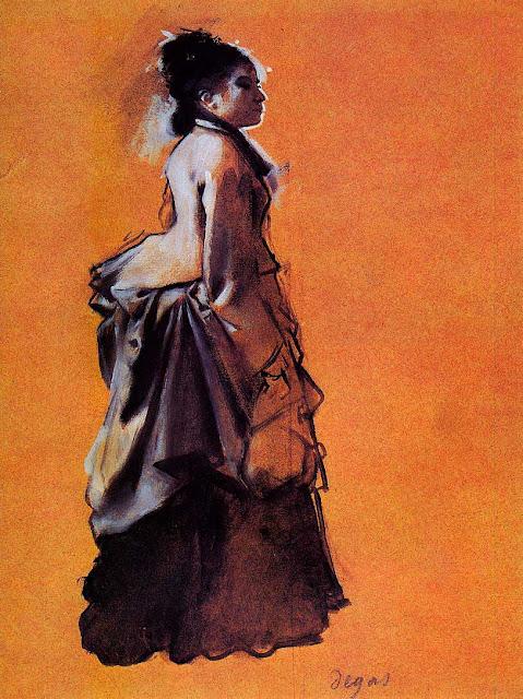 Эдгар Дега - Молодая женщина в платье на улице (1872)