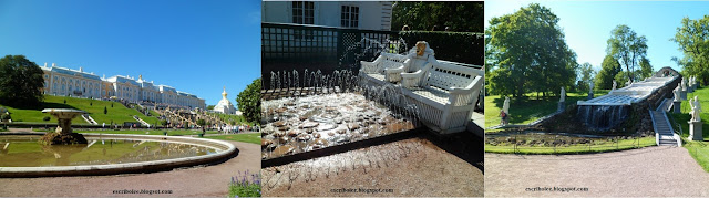Viaje a Rusia: Peterhof: palacio y fuente principal, una fuente trampa y fuente del ajedrez