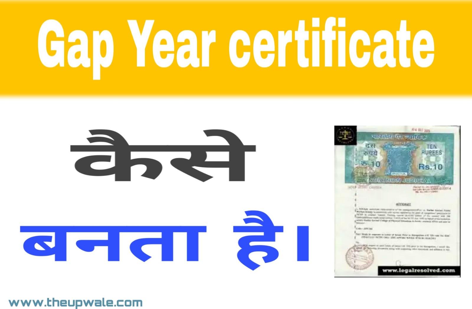 Gap Year certificate क्या है | What is Gap Year certificate In hindi