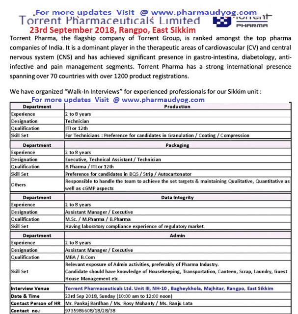 Torrent Pharma   Walk-in for Multiple Positions   23rd September 2018   East Sikkim