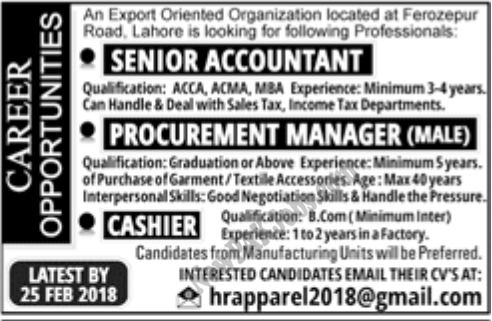 Private Jobs in Lahore 2018 for Cashier, Senior Accountant, Procurement Manager