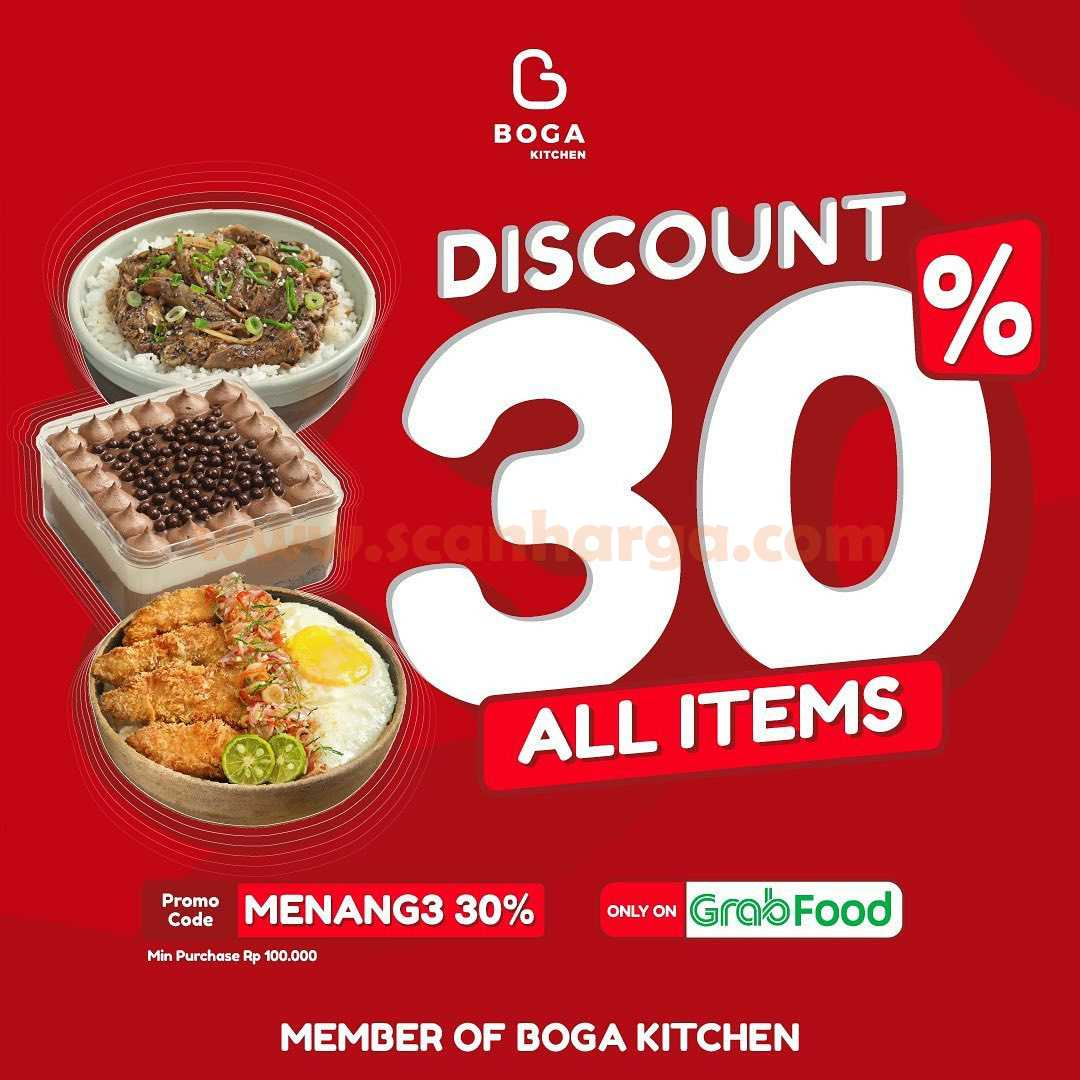 BOGA KITCHEN Promo Delivery Hemat DISKON 30% ALL ITEMS via GrabFood