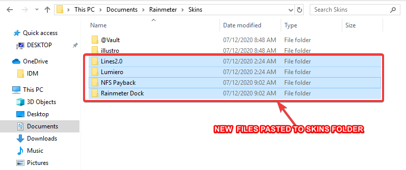 paste the folder you copied to skins