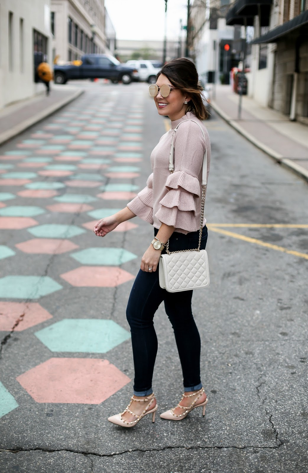 pink ruffle sleeve sweater