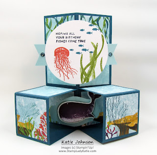 Cube Card made with Stampin'Up!'s Whale Done stamp set and Whale of a Time designer paper