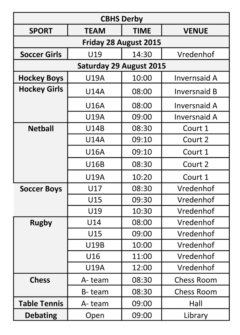 Camps Bay High School: CBHS Groote Schuur Derby Timetable