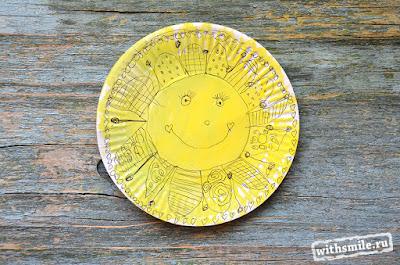 Paper plate arts for kids.  Zenart sun.  Fingerprint Dandelion. Детские рисунки. Солнышко в технике зенарт на бумажных тарелках. Рисуем одуванчики пальчиками. Зентангл, дудлинг, мандала.