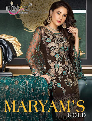 Rinaz Fashion Marayms Gold Georgette Pakistani Suits Collection In Wholesale Rate