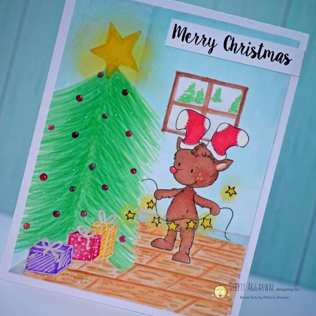 Kinda cute by Patricia digital stamp Reindeer with lights