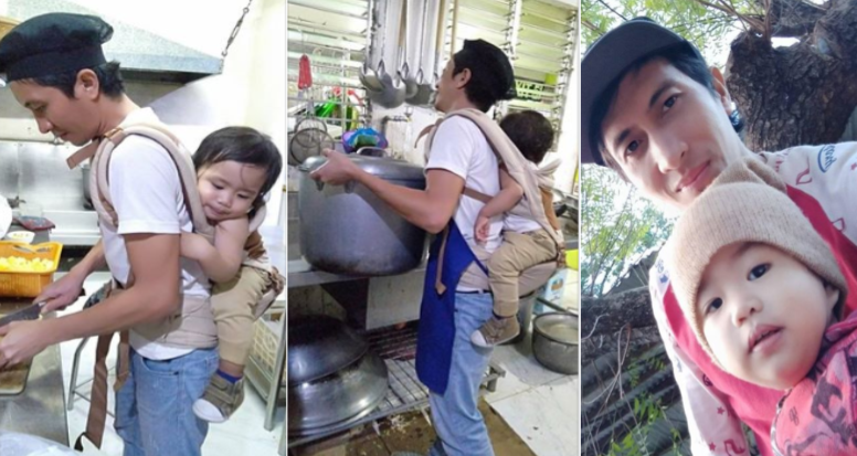 Dakilang ama, karga ang anak habang nagtatrabaho para may pambili umano ng gatas