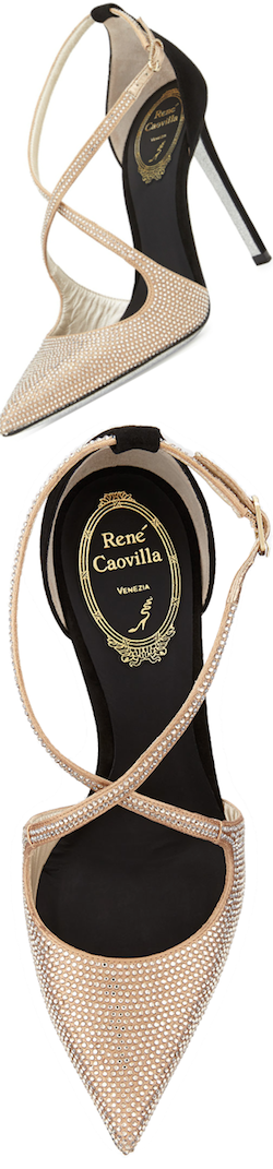 Rene Caovilla crystallized cross strap d'orsay pump