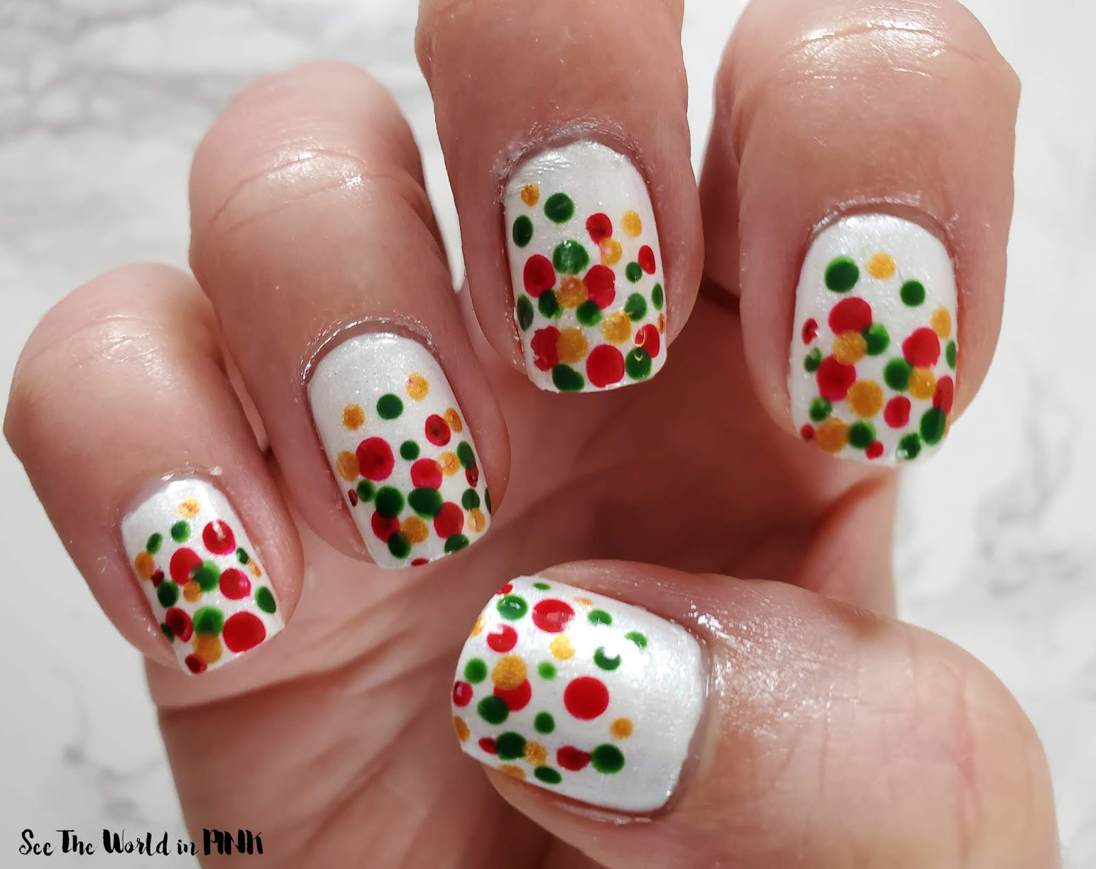 Manicure Monday - Holiday Dotticure Nails