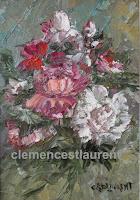 Fleurs pour une occasion, gerbe de roses blanches, roses et rouges, huile 7 x 5 par Clémence St-Laurent