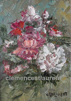 Fleurs pour une occasion, huile 7 x 5 par Clémence St-Laurent - gerbe de roses blanches, roses et rouges