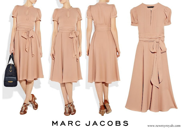 Crown Princess Mary wore MARC JACOBS Mimi Old Rose Belted Silk Crepe Dress