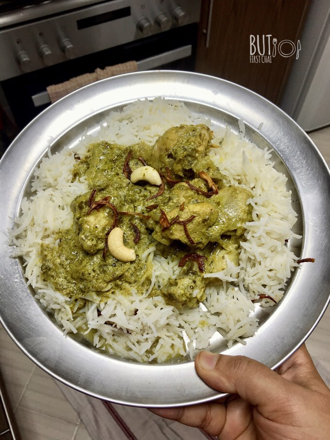 Chicken in Mint Coriander Yoghurt Sauce | Hariyali Murgh Korma