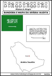 Bandeira e mapa da Arábia Saudita