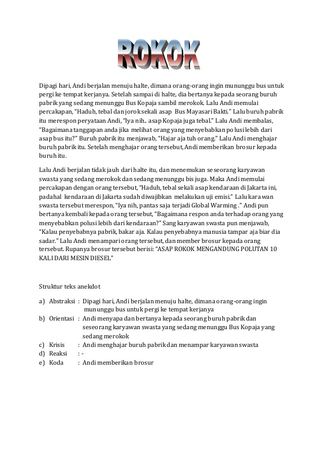 Contoh Teks Anekdot Ekstrakurikuler Feed News Indonesia