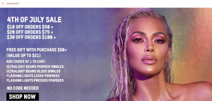 KKW Beauty menggunakan Shopify