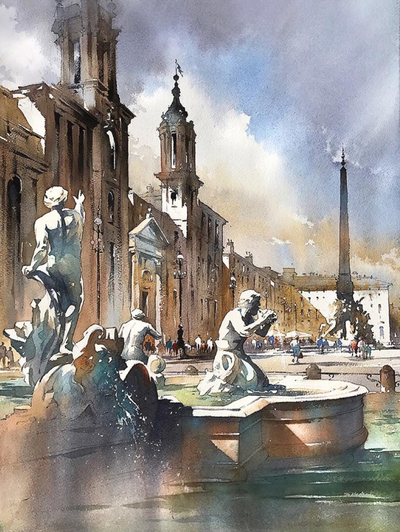 01-Piazza-Navona-Rome-Italy-Thomas-Schaller-Watercolor-Paintings-Indoors-and-Outdoors-www-designstack-co