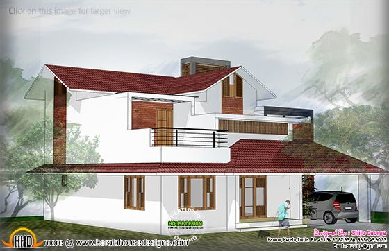 Sloping roof house 2D drawing