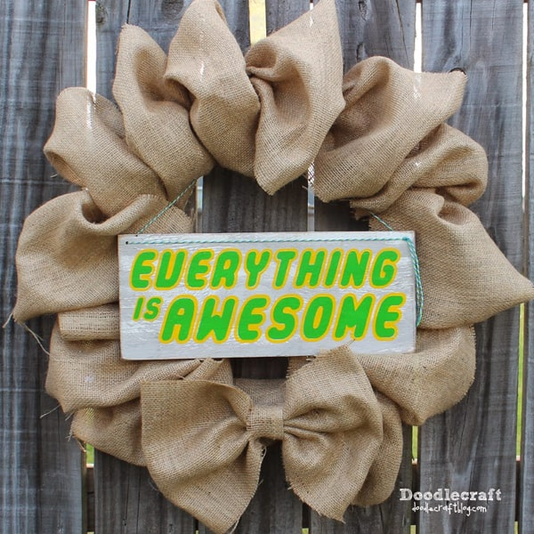 Lego inspired Everything is Awesome burlap wreath.