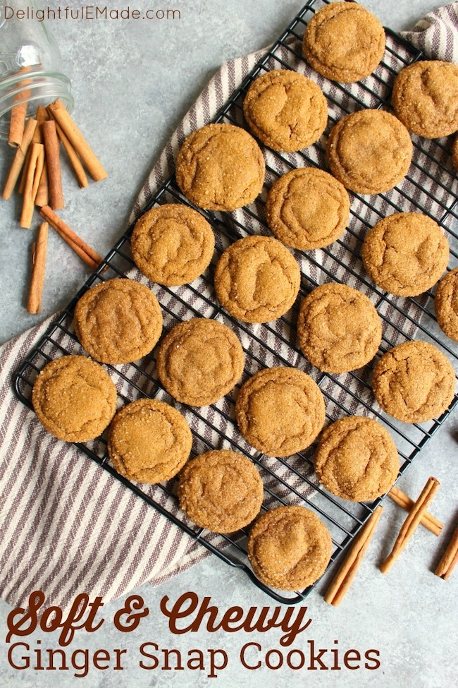 Chewy Ginger Cookies by Delightful E Made featured at Pieced Pastimes