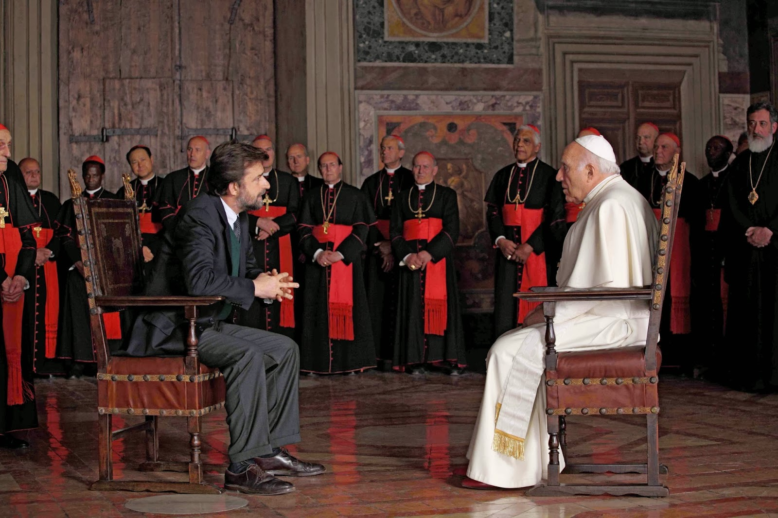 Nanni Moretti (left), Michel Piccoli (right) in We Have a Pope, Directed by Nanni Moretti