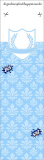 Light Blue Crown with Arabesques: Free Printable Quinceanera Party Candy Bar Labels.