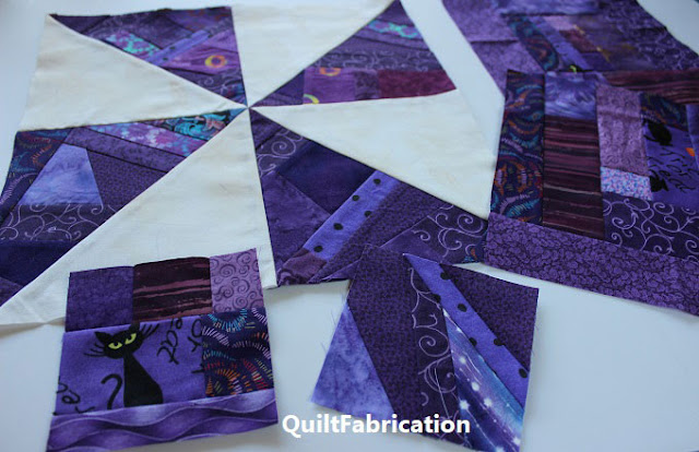 purple scrap pinwheel quilt block by QuiltFabrication