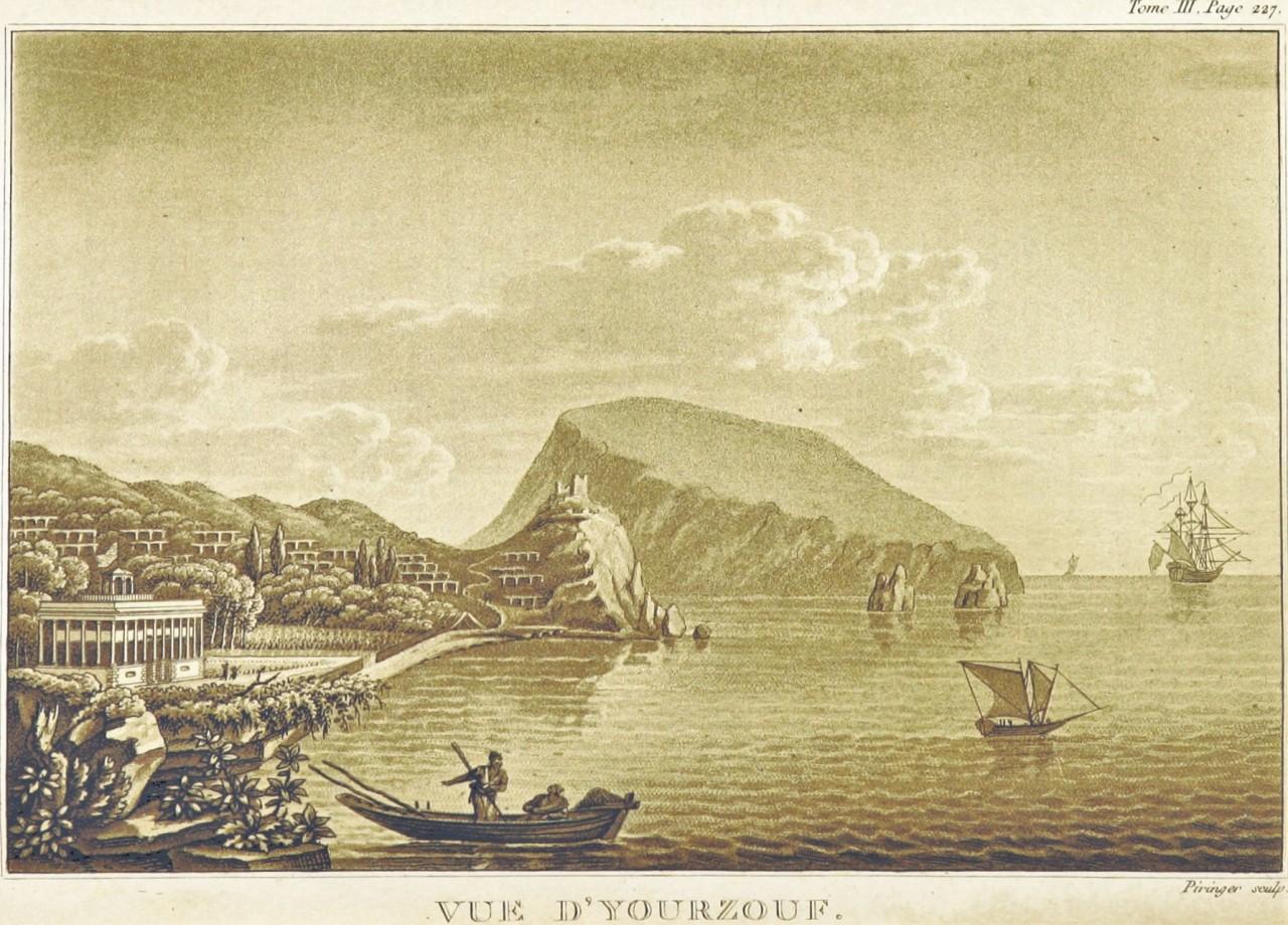 Вид на Гурзуф. Гравюра 1820 года