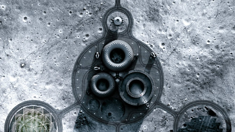 Project Olympus concept by ICON & BIG for NASA's Artemis Base Camp - top view