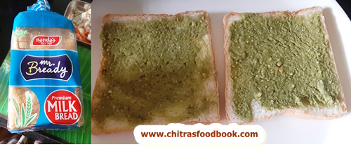 Green chutney cheese sandwich