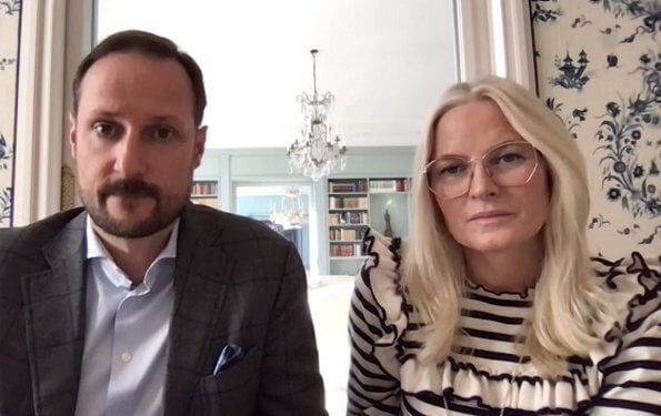 Crown Princess Mette Marit wore a lourdes striped ruffle sweatshirt from Ulla Johnson