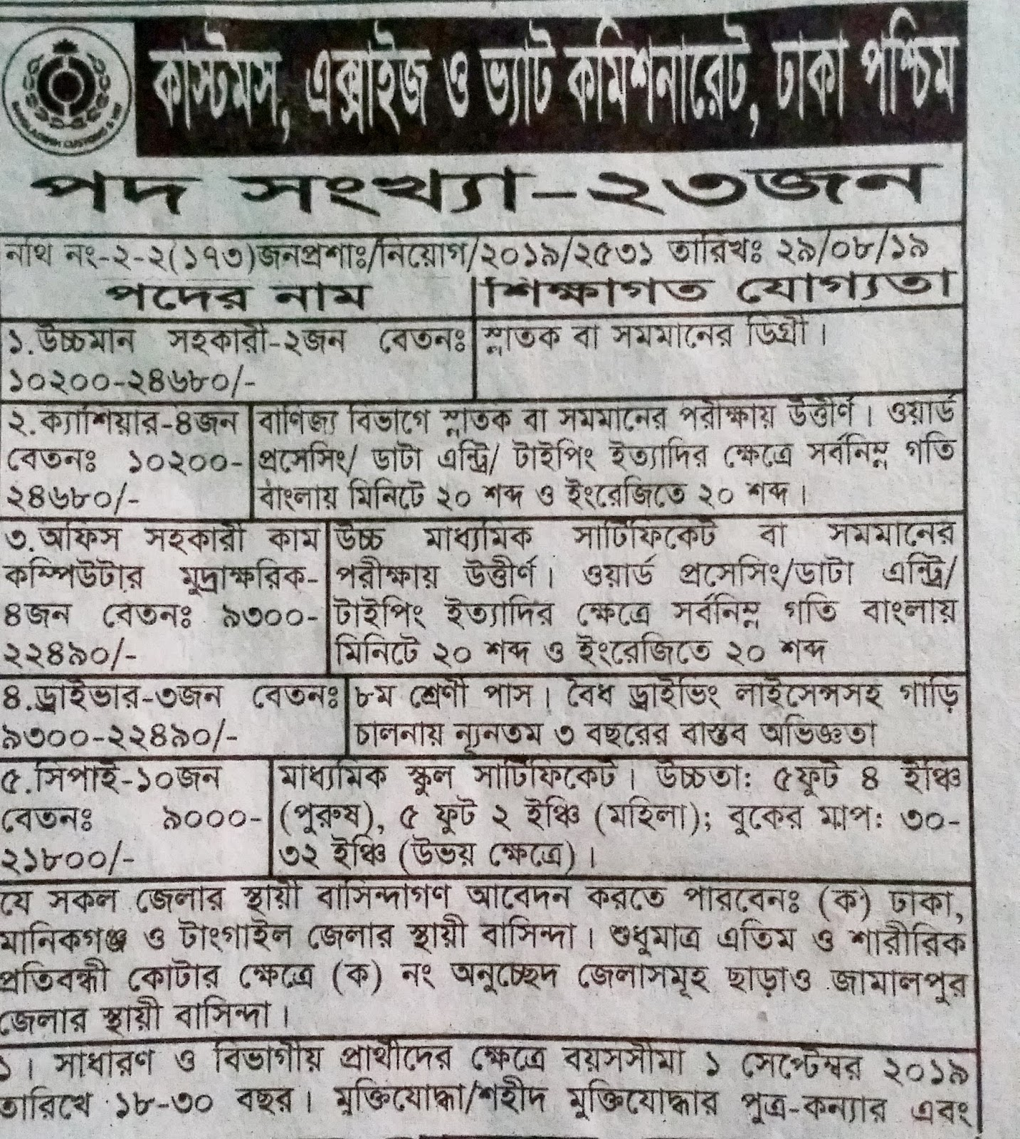 Customs, Excise & VAT commissionerate, Dhaka(west)  job circular 2019 3