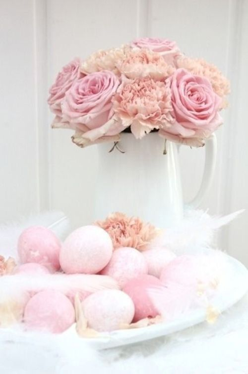 shabby chic pink Easter decoration with eggs and roses