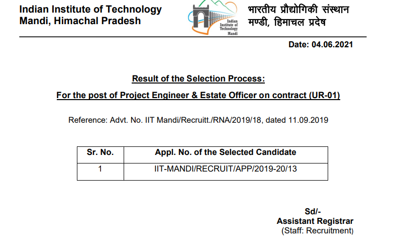 IIT Mandi  Project Engineer & Estate Officer Result 2021