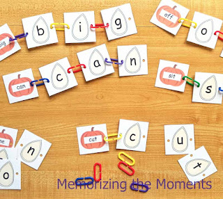 Fall Pumpkin Seed Sight Word linking activity perfect for morning work tubs