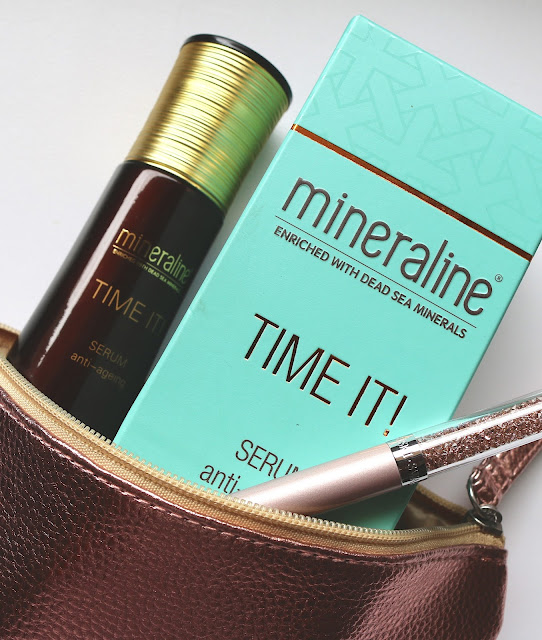 Mineraline TIME IT! Anti-Ageing Serum bottle, box in rose gold make-up bag with a rose gold pen