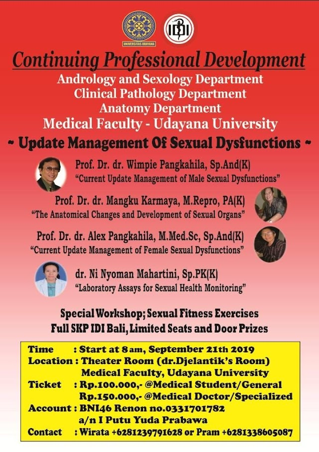 """Continuing Professional Development (CPD) 2019  Theme *""""Update Management of Sexual Dysfunctions; Better Sexual Health, Better Quality of Life""""*    One Day Seminar on *September 21th 2019*"""