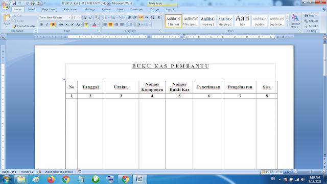 Download Contoh Buku Kas Pembantu Kepala Sekolah Dasar word