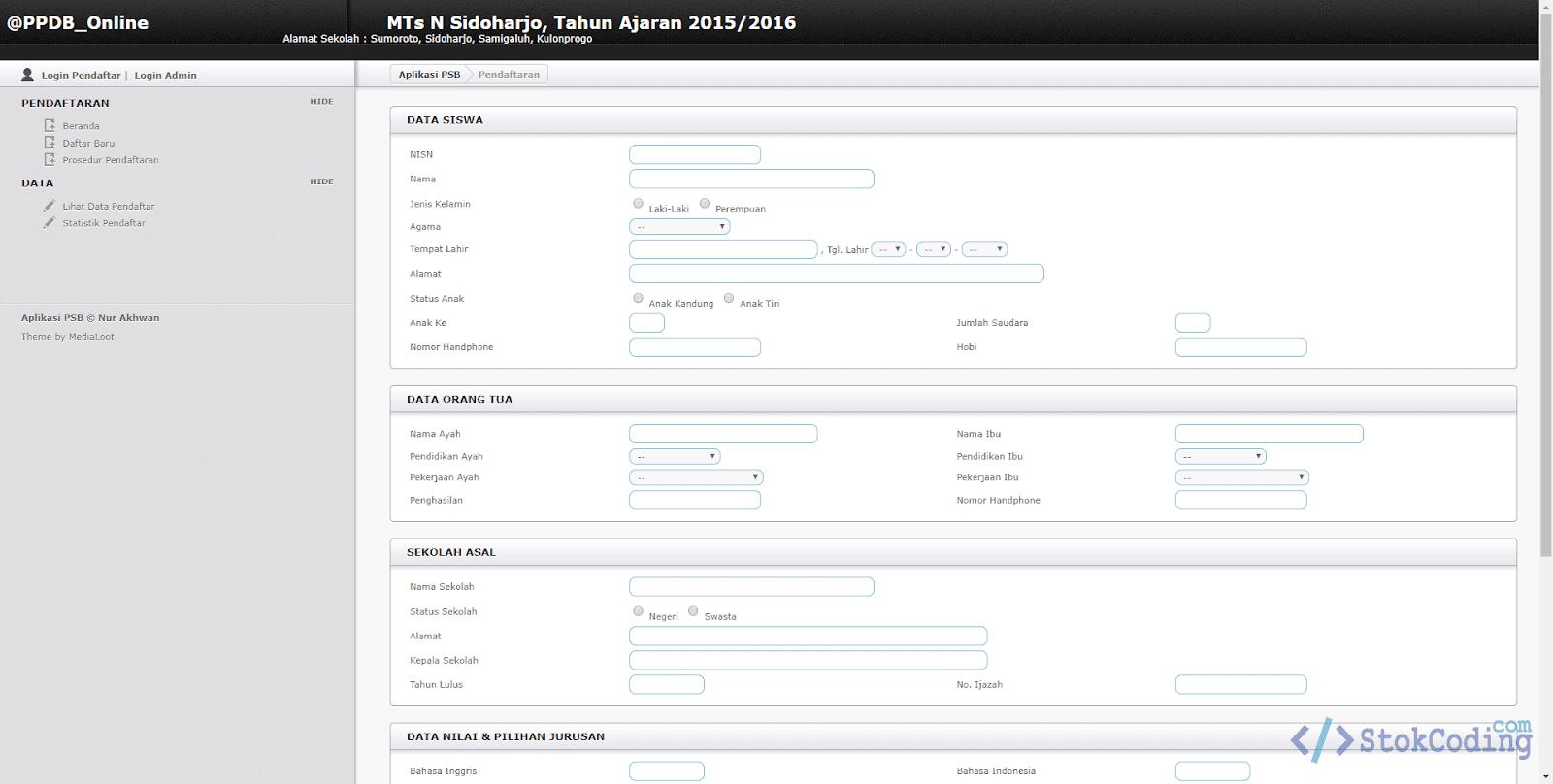 Sistem Informasi PPDB Online (PHP)