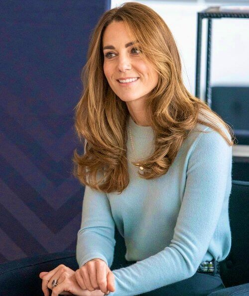 Kate Middleton wore a new handcrafted checked wool coat by Massimo Dutti, and a new cashmere crew-neck sweater by Massimo Dutti.
