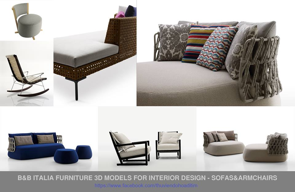 B&B Italia Furniture 3D Models for Interior Design - Sofas&Armchairs