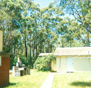 The back yard beyond the tankstand on the left is a grey brick barbecue..  At the end of the garden, covered with vines is an 'outback dunny' next to a yellow garage.  Behind the buildings is a tall canopy of native trees.